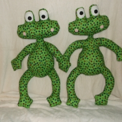 These lovely frogs designed by me, are 19.5inches high. They are made from 100% cotton fabric, and have felt features.Stuffed with fire retardant toy filling. They are great gifts for a child when looking for something that little bit different.