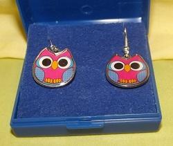 Pink with blue enamel owl earrings, fish hook for pierced ears.