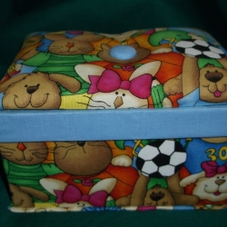 Hand crafted treasure box in a cute animal design with sports balls. Keep your most precious items safe. Measures 6.5inches long x 4.25inches wide x 3.75inches high.