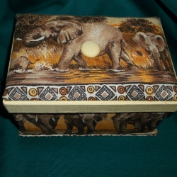 Hand crafted padded trinket box. Approx 6.5inches long x 4.25inches wide x 3.75inches high.