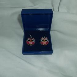 Pink checked enamel owl dangly fashion earrings, white metal fish hooks for pierced ears
