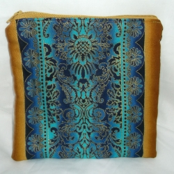 Large zippered make-up bag. Eastern print fabric with luxurious gold outlines. These are completely unique.