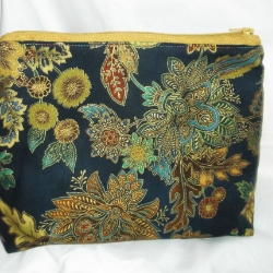 Unique Navy and floral print with gold outlines, oriental print large cosmetic bag. Approx. 9inches long x 7inches high x 4inches wide