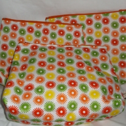 Large free standing cosmetic bag. Approx 9inches long x 7 inches high x 4 inches wide. Nice and roomy, would make a lovely gift.