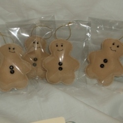 Gingerbread man felt decoration, hand crafted.
