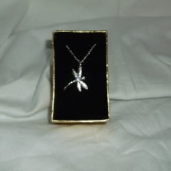 """925 silver dragonfly necklace with a cubic zirconia detail on an 18"""" chain. In a presentation box"""