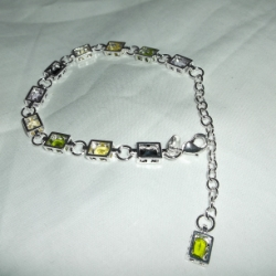 Rectangular boxes with oval cut, coloured crystals. 7.5inches long in 925 silver.