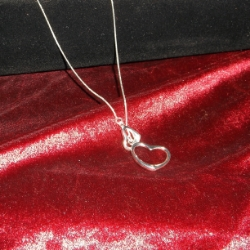 Lanyard heart necklace on fine snake chain, 18inches long. 925 silver.