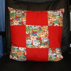 "20"" Cartoon Christmas Cats Patchwork cushion. Cute cats wearing woolly jumpers and knitted hats and scarfs."