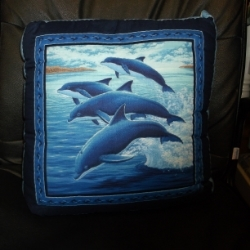 "18"" Quilted Dolphin cushion from a printed panel, has a wavy blue backing. Would compliment item WHS006."