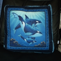 "18"" Quilted killer whale cushion from a panel, has a wavy blue backing. Would compliment item no WHS005"