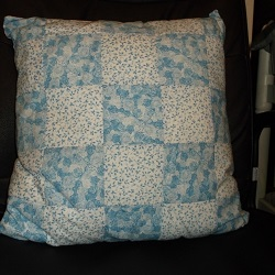 "18"" Blue Roses Patchwork Cushion, very pretty. Would compliment the shabby chic look."