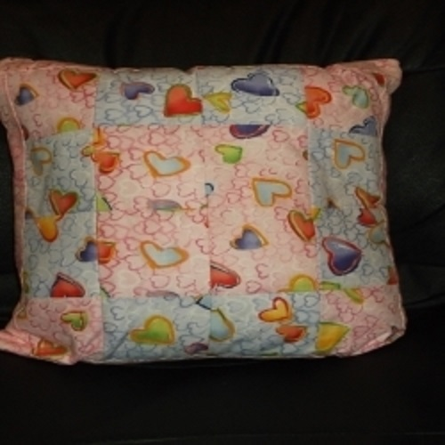 "18"" Pale Mauve and Pink Patchwork cushion with hearts design. Suitable for a childs' room. Would compliment item ref WCU008"