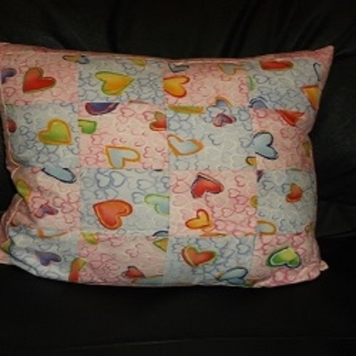 "18"" Checkerboard design Patchwork cushion. Pink and Pale Mauve with hearts,lovely for a childs' room."