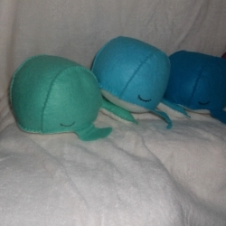Felt Whale pin cushions in a selection of colours, all with a cream belly. Good large size, will hold masses of pins.