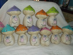 Quirky mushroom, every one is unique. Each has safety eyes and a brightly coloured top, with silver spots. It stands at just over 5.5 inches tall and is filled with a polyester toy stuffing.