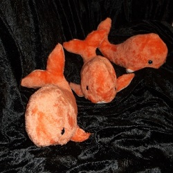 Plush Baby Whale, approximately 12inches long. Features safety eyes and polyester toy filling