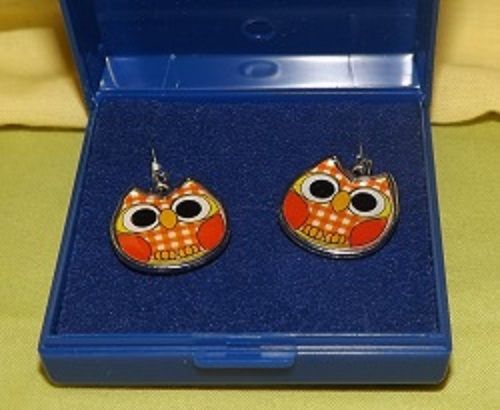 Orange and check Enamel owl earrings. Fish hook style for pierced ears. White metal