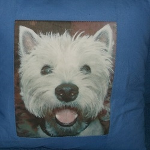 Westie cushion made with photographic image. Done to customers own colour choice. Price £25